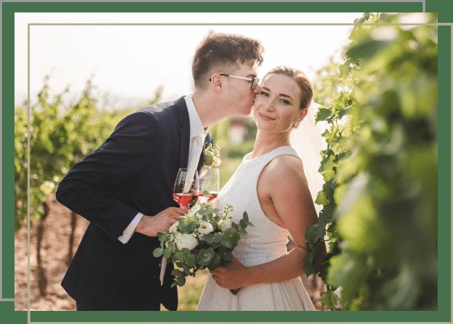 ženich líbající nevěstu ve vinici
